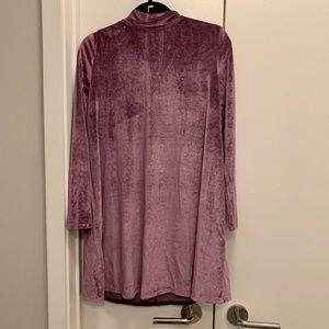 Long Sleeved Purple Velvet Minidress